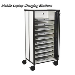 "50""H x 22.5""W Mobile Laptop Charging Station w/10 Unit Capacity,Locking Cabinet -Gray- 27540 Balt,27540Gray"