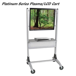 "67""H x 35""W Platinum Flat Panel Cart with 37 Degree Tilt - Fits up to 50"" - 27544 Balt,27544Silver/Gray"