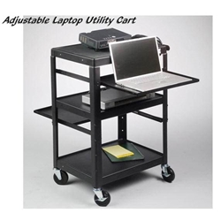 "26-42""H x 24""W Adjustable 4-Shelf AV Utility Cart with Electrical Assembly - 89842 Balt,89842Black"