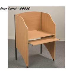"48""H x 32 5/8""W Floor Carrel with 5/8"" Thick Teak Laminate Surface - 89830 Balt,89830Teak"