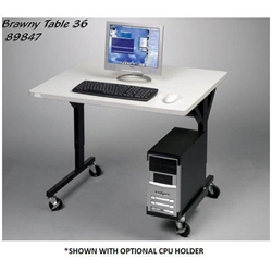 "25.5-33.5""H x 36""W Brawny Mobile Table/Workstation with Gray Laminate - 89847 Balt,89847Gray"