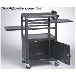 "26-42""H x 24""W Dual Adjustable 5-Shelf Laptop Cart with Electrical Assembly - 89875 Balt,89875Black"