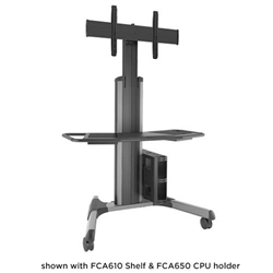 Large FUSION Manual Height Adjustable Mobile TV Cart - Silver