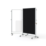 "Ghent-NEX224MFP-95 - 76.13""x52.38"" Nexus Partition-2-Sided Mobile Porcelain Magn WB/ Fabric TB Black"