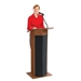 Power Plus Full Floor Lectern with Sound and Wireless Handheld Mic - Medium Oak - 111PLS-MO/LWM-5